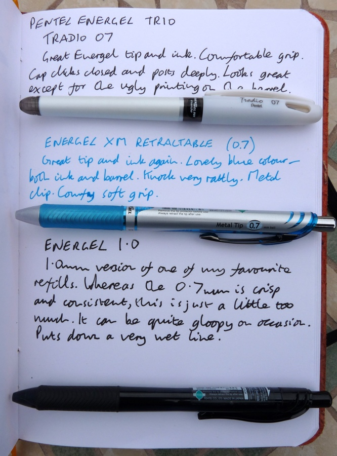 Pentel EnerGel Trio handwritten review