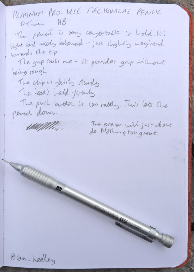 Platinum Pro-Gear pencil handwritten review