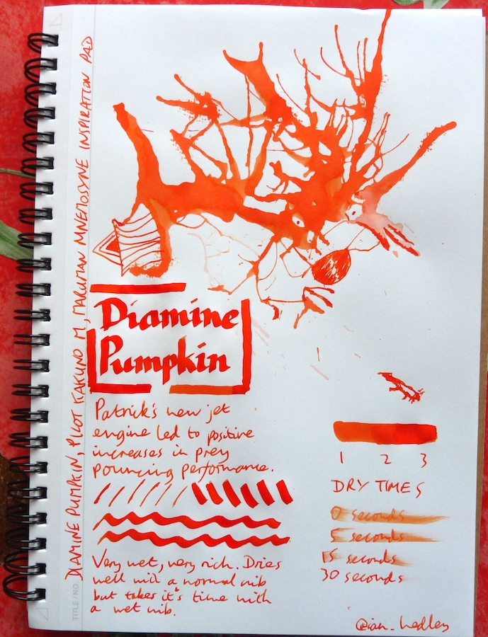 Diamine Pumpkin Inkling doodle