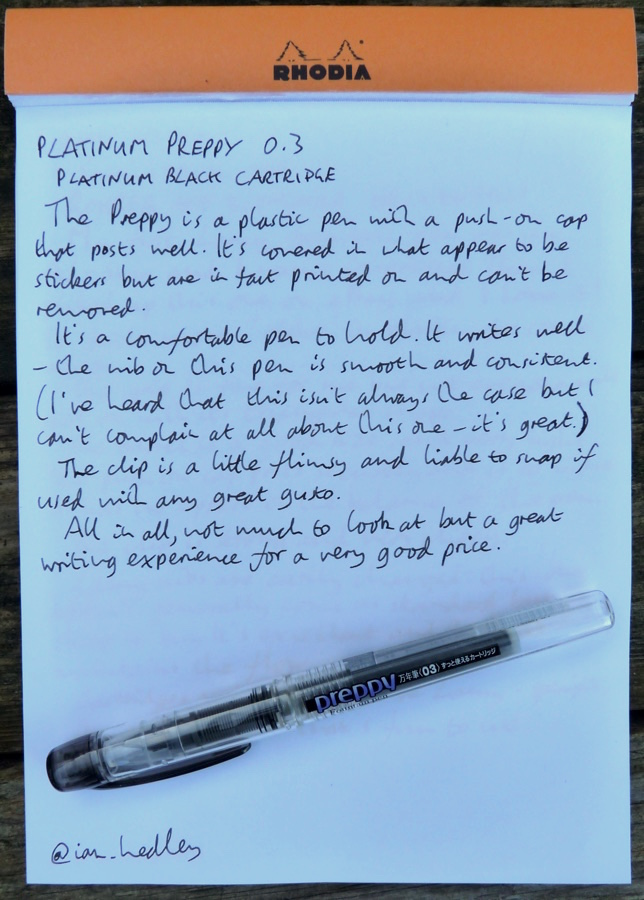 Platinum Preppy handwritten review