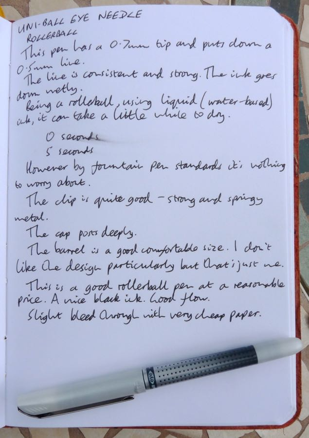 Uni-ball Eye Needlepoint handwritten review