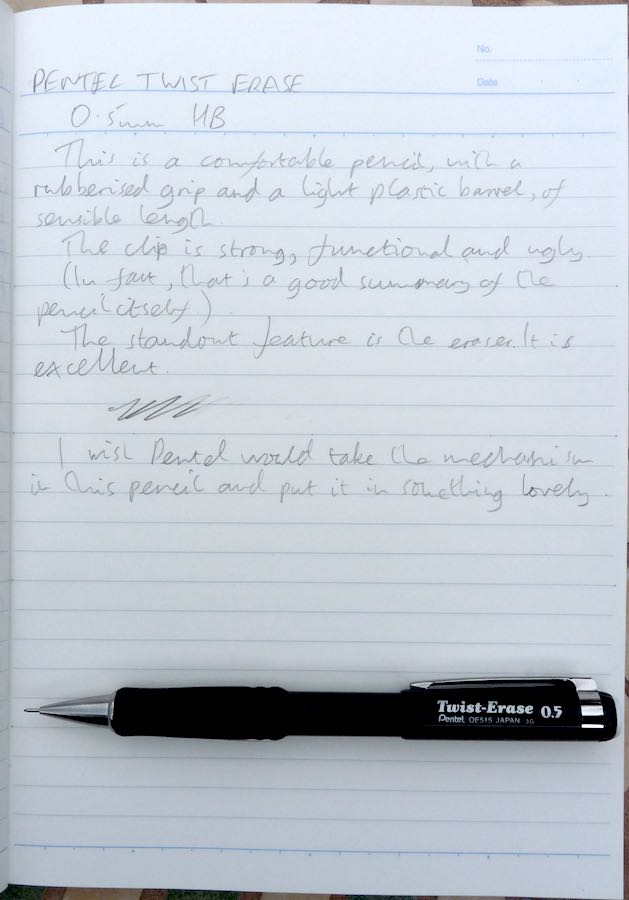Pentel Twist Erase handwritten review