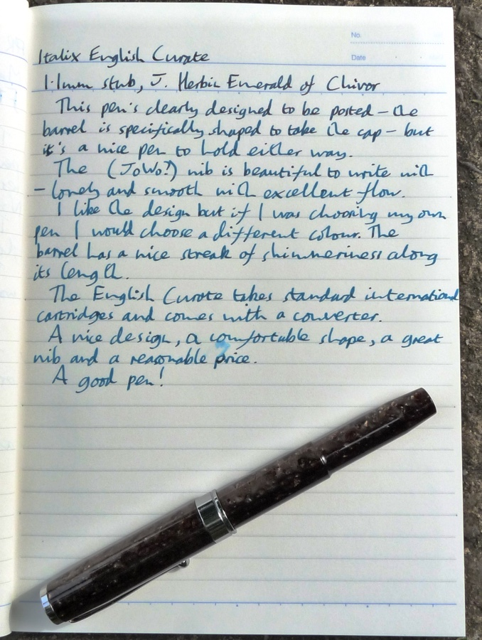 Italix English Curate handwritten review