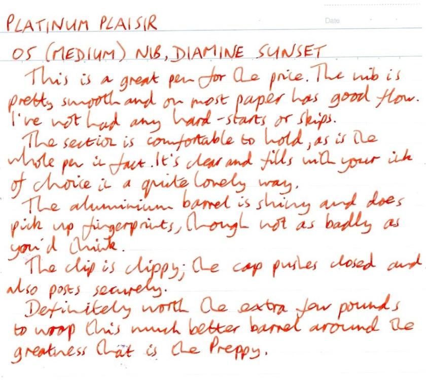 Platinum Plaisir handwritten review