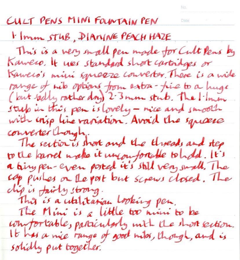 Cult Pens Mini Fountain Pen handwritten review