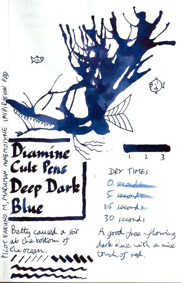 Diamine Cult Pens Deep Dark Blue Inkling
