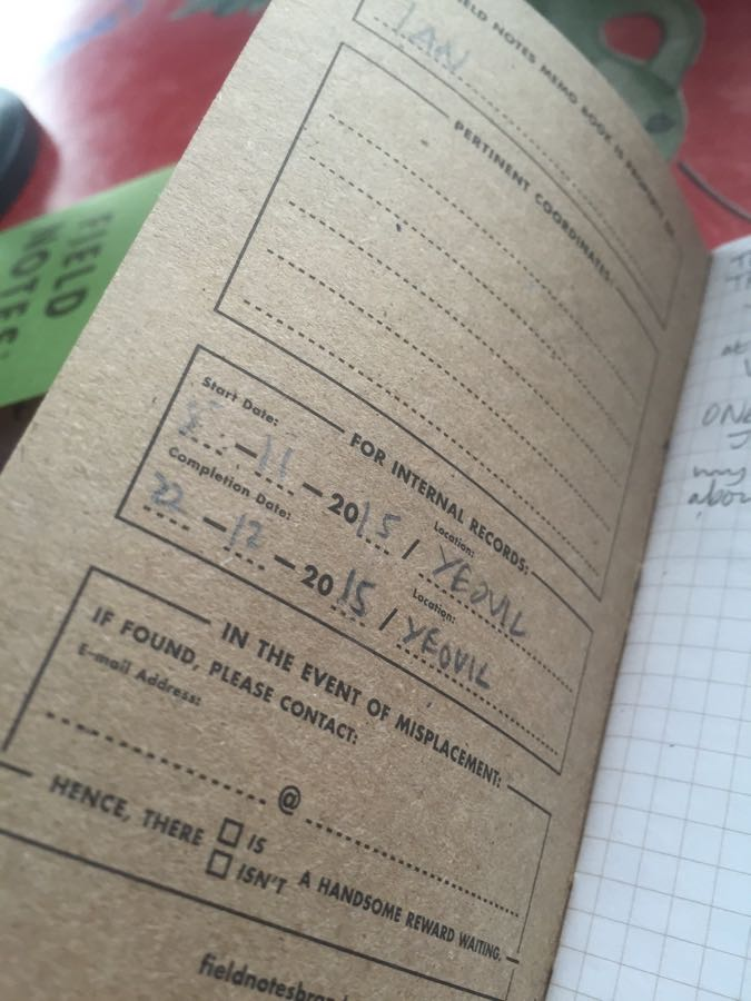 Field Notes Cherry Graph inside front cover