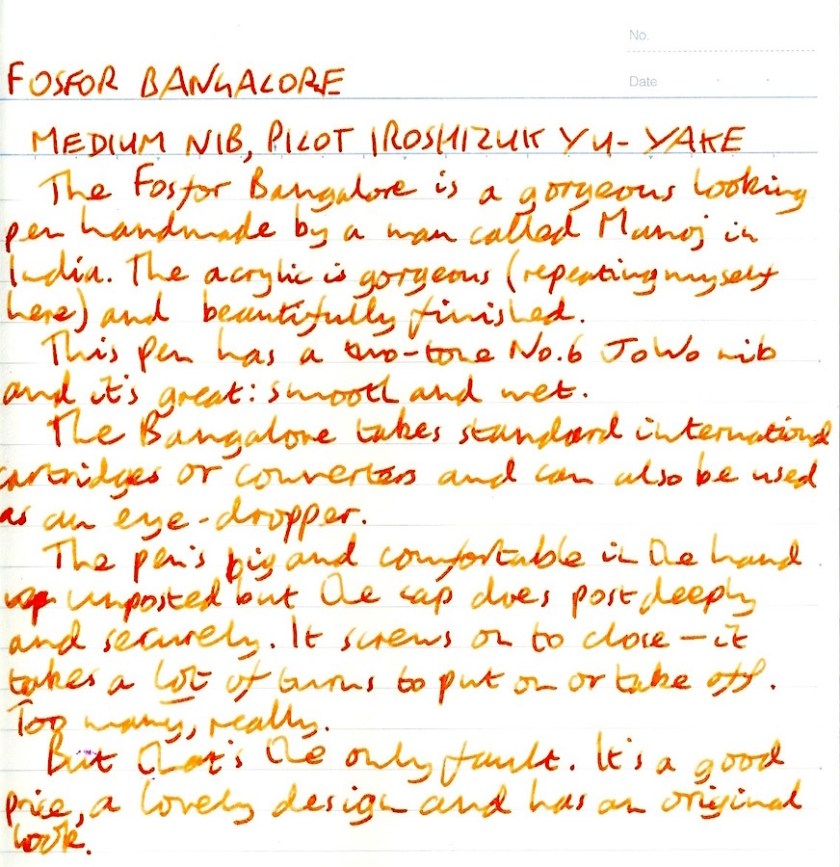 Fosfor Bangalore handwritten review