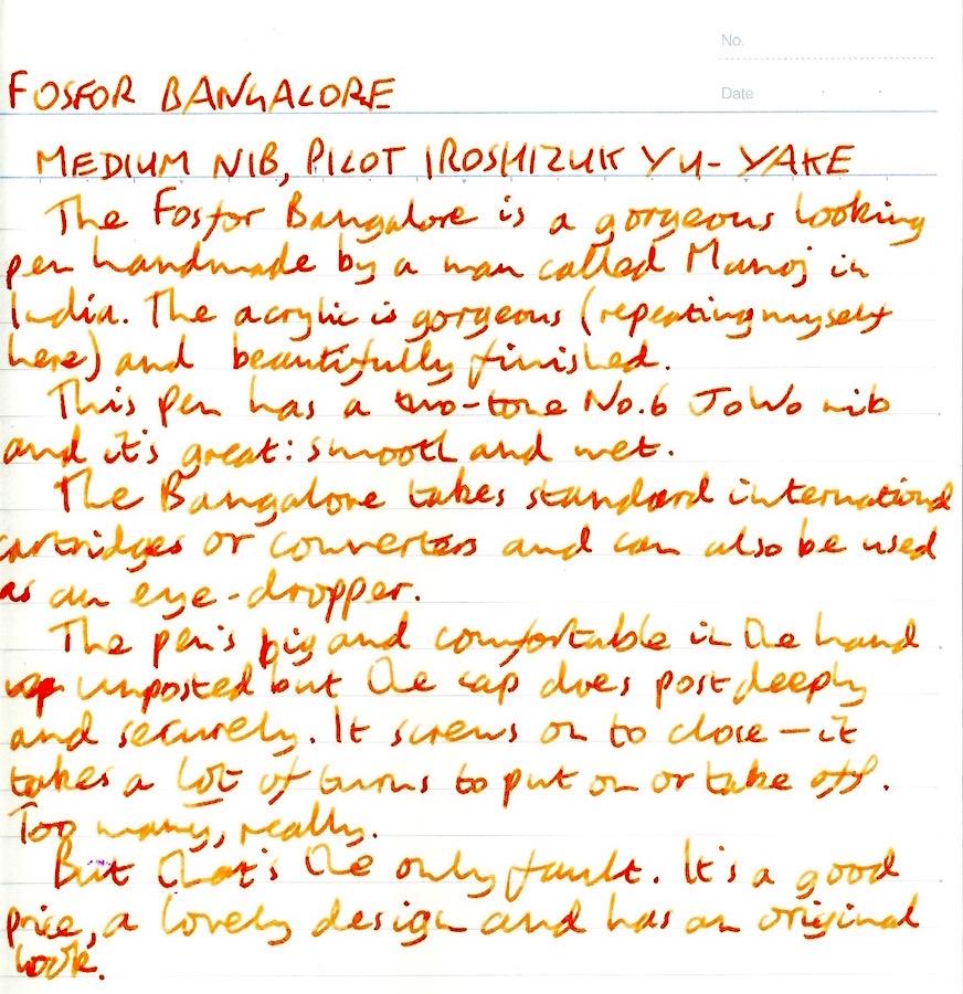 Fosfor Bangalore handwritten review