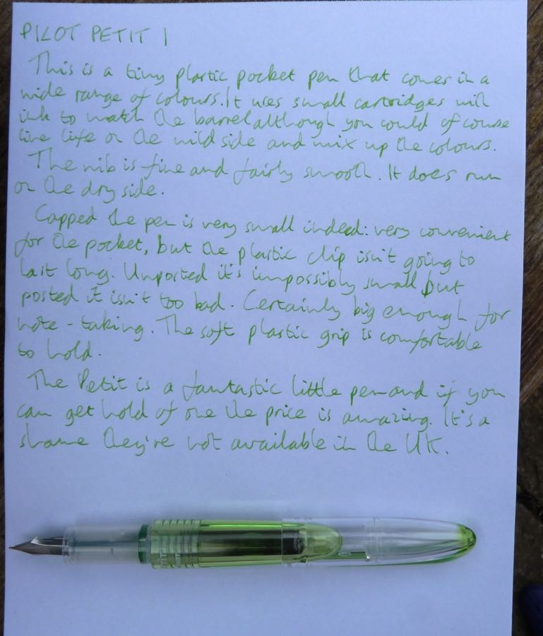 Pilot Petit 1 handwritten review
