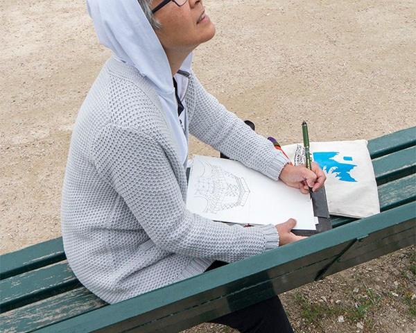 Tina sketching Eiffel Tower