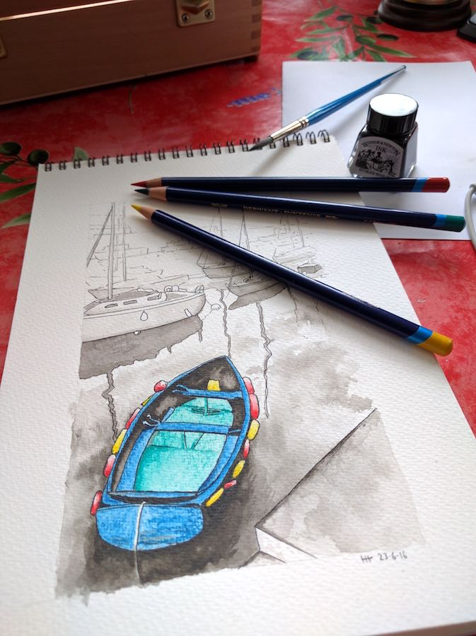 Blue boat with pencils
