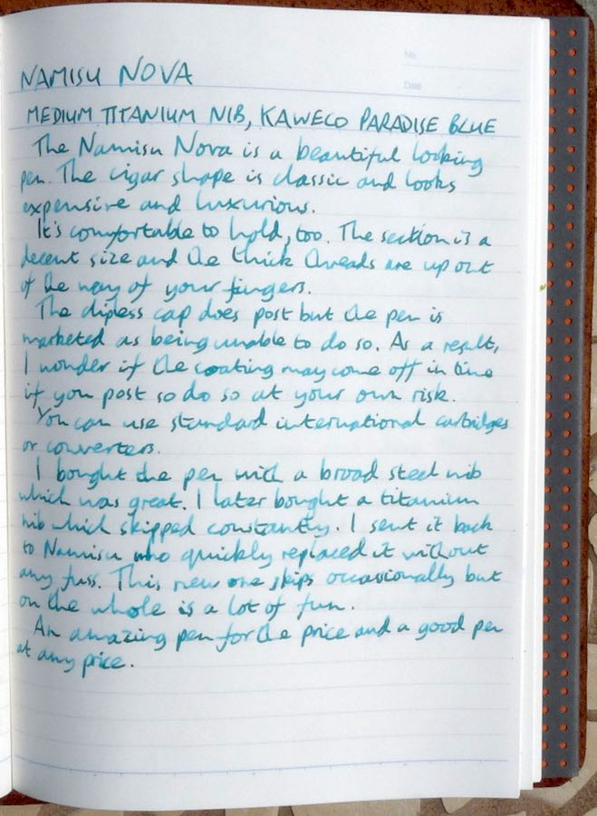 Namisu Nova handwritten review
