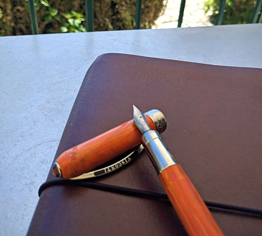Visconti Rembrandt resting on cap