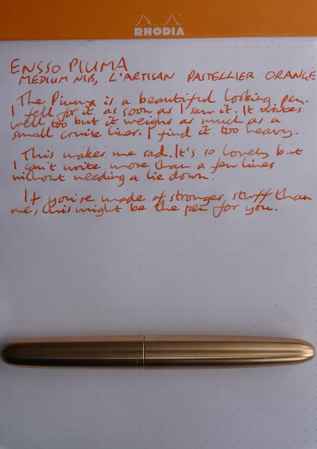 Ensso Piuma fountain pen handwritten review