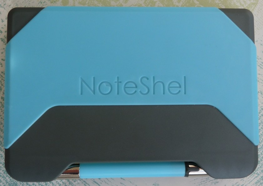 NoteShel Sticky Note Holder pen in place