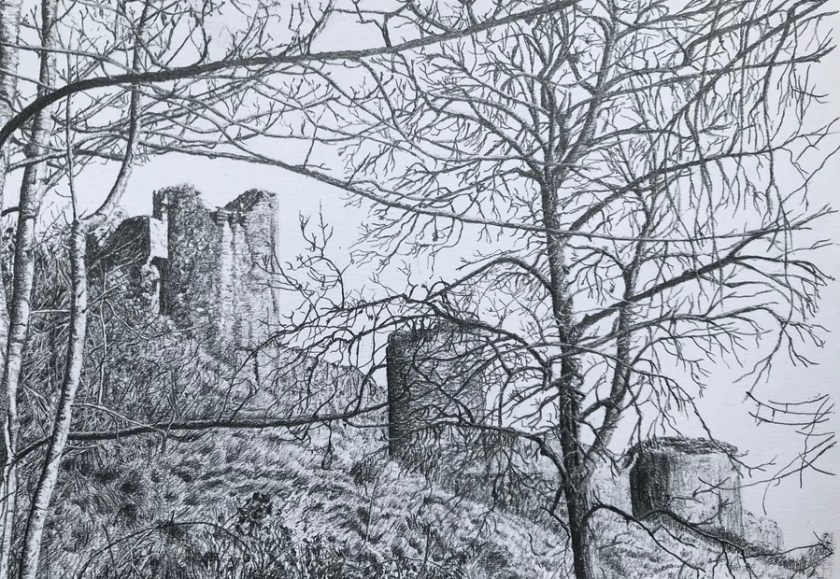 Corfe Castle through the trees
