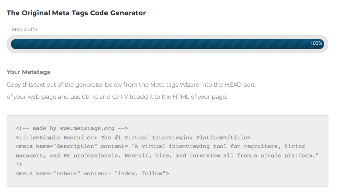 meta tag generator output from Metatags.org.