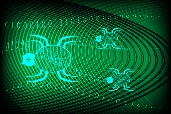 Concept art showing a search engine spider crawling through data