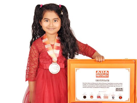 Four-year-old American girl in UAE enters record books for reading books non-stop