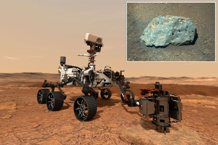 It's no little green man, but a small turquoise rock is still catching Mars rover's 'eye'