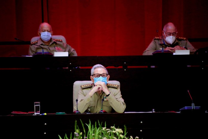 Raul Castro, first secretary of the Communist Party and former president, attends an opening session at the Convention Palace in Havana, Cuba on April 16, 2021.