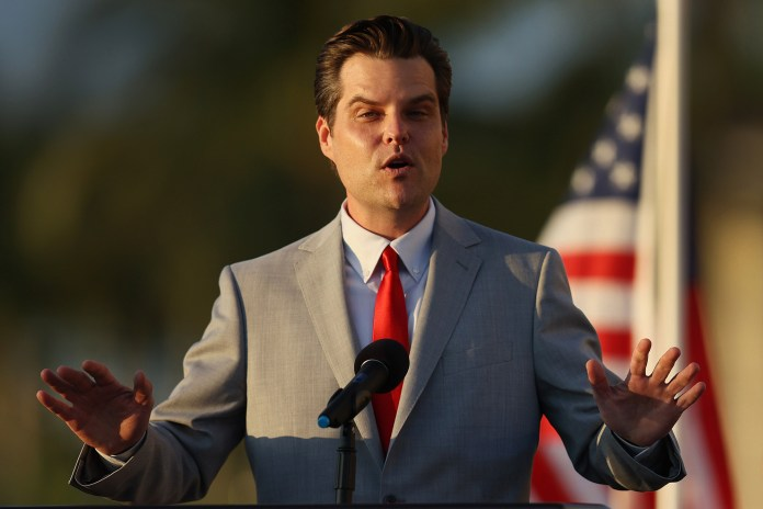 """Rep. Matt Gaetz speaks during the """"Save America Summit"""" at the Trump National Doral golf resort on April 09, 2021 in Doral, Florida"""