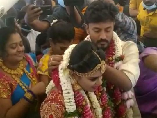 A couple tied the knot on-board a chartered flight from Madurai, Tamil Nadu. Their relatives & guests were on the same flight.