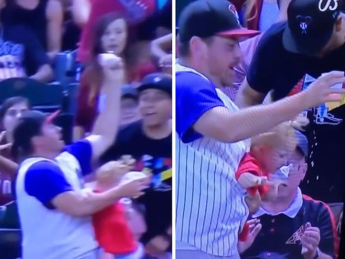 Dad Almost Drops Baby Catching Foul Ball Barehand at D-Backs Game