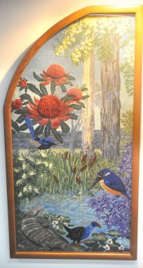 This panel features the Waratah, Blue Tongued Lizard, Azure Kingfisher, Swamp Hen and the Superb Blue Wren.