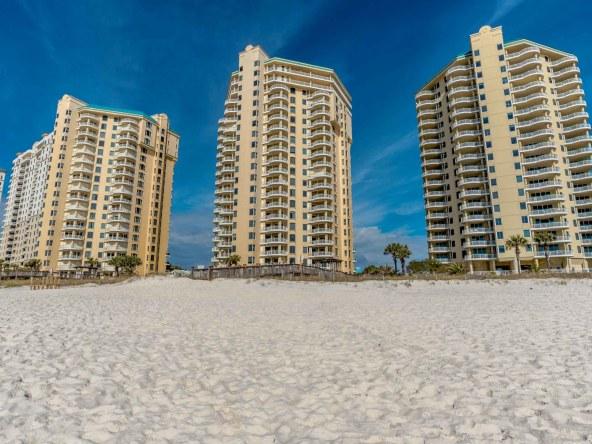 Condominiums and beach visitors