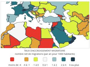 Taux d'accroissement migratoire, détail au Moyen-Orient