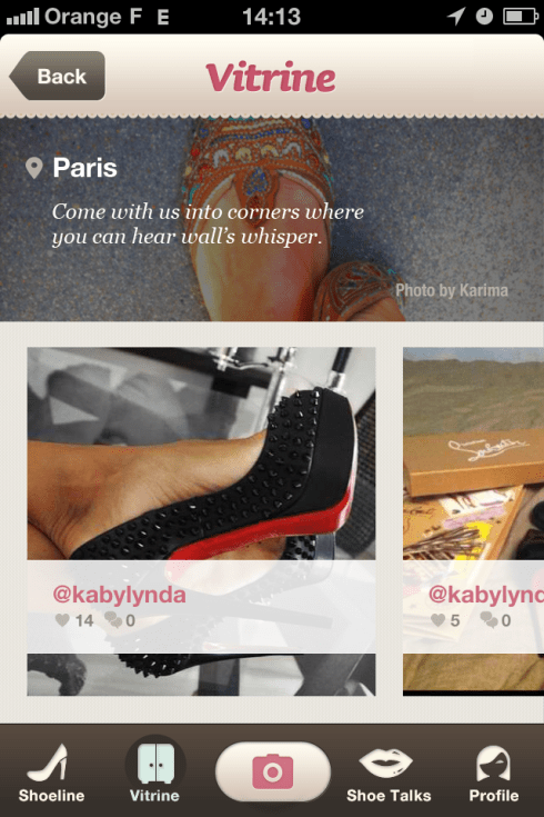 Capture d'écran application Shoes addict
