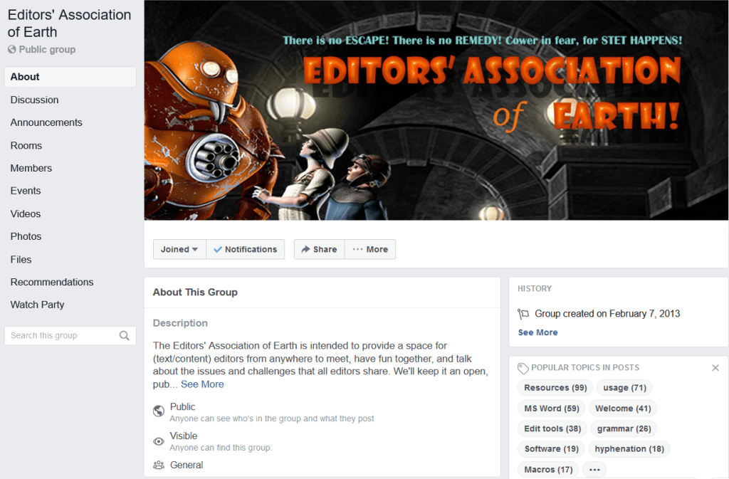 The Editors' Association of Earth Facebook page
