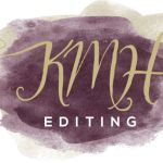 KMH Editing logo with gold initials on an elegant watercolor purple background
