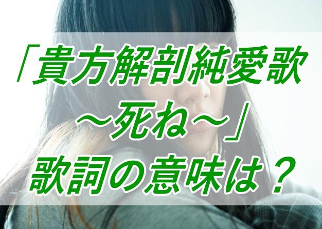 あいみょん/貴方解剖純愛歌~死ね~/歌詞/意味/読み方/解釈