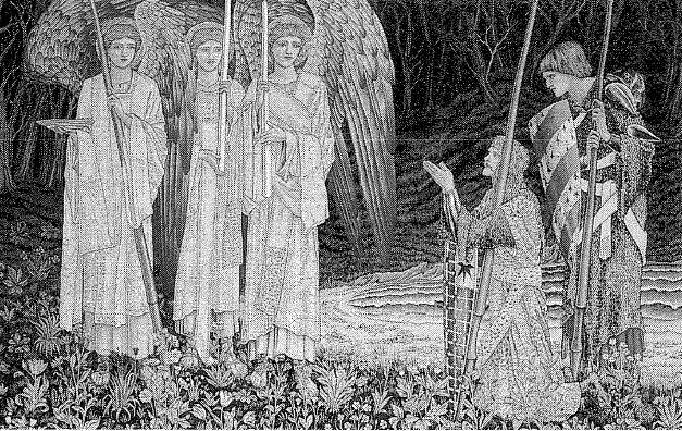 Galahad vindt de Graal. Wandkleed van Burne-Jones, uitgevoerd door William Morris. Birmingham City Museums & Art Gallery.
