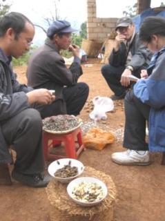 Wang Huizhong, Wang Ziqin, George Teo, and Luo Jing in the courtyard where we conducted the interview.