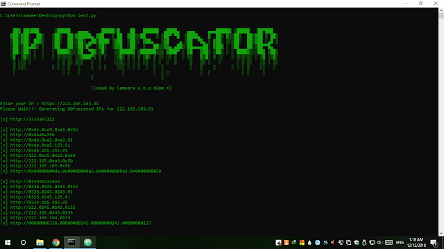 IP Obfuscator - Simple Tool To Convert An IP Into Integer, Hexadecimal Or Octal Form