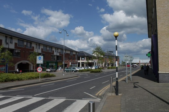 A view of the shopping area with Lidl in the distance