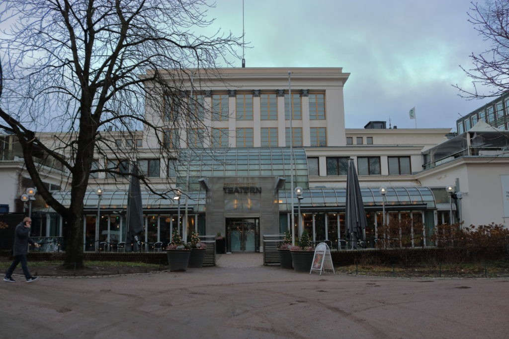 The view of the back door to the Swedish Theatre building