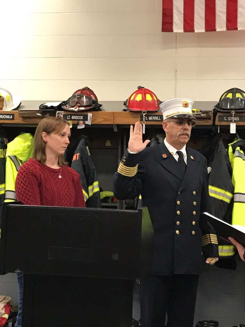Groveland Fire Chief Robert Valentine, right, and his daughter Lisa Paicos. Chief Valentine was sworn in to his new role on Sunday. (Courtesy Photo Town of Groveland)