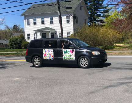 First responders and administrators held a parade in honor of Teacher Appreciation Week on Tuesday in Groveland, Merrimac and West Newbury. (Courtesy Photo Pentucket Regional School District)