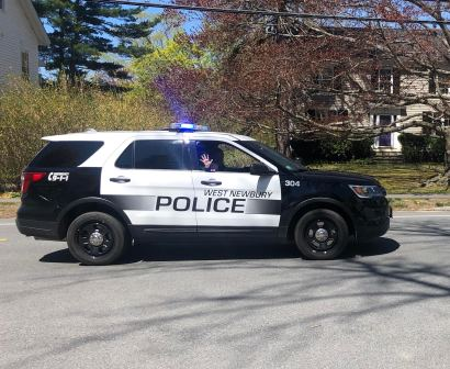 Members of the West Newbury Police Department participated in a Teacher Appreciation Parade on Tuesday. (Courtesy Photo Pentucket Regional School District)