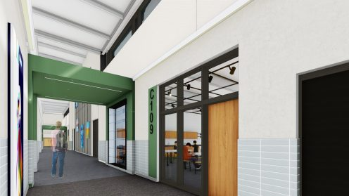A rendering of a hallway for the Pentucket Regional Middle-High School building. (Courtesy Image Pentucket Regional School District)