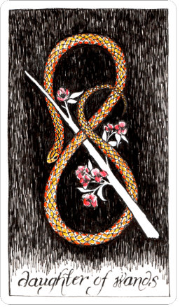 the-wild-unknown-tarot-the-world-daughter-of-wands-runes-eihwaz
