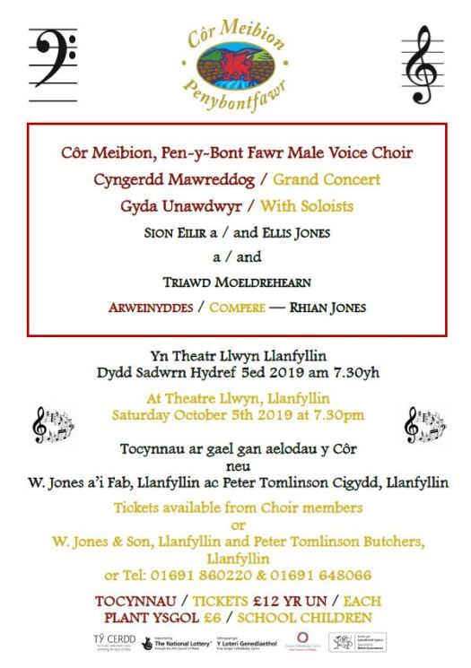 Cyngerdd Hydref 2019 Concert Oct