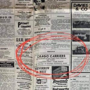 Ad for removals in Cornwall 43 years ago