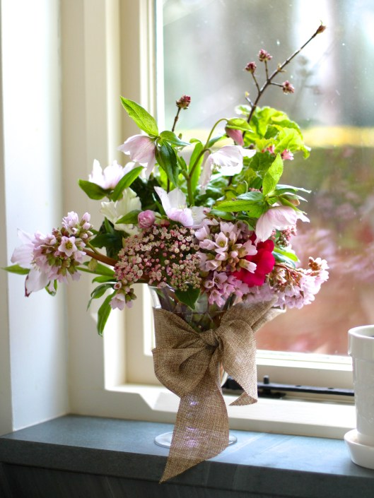 Vase of Pink Flowers in February