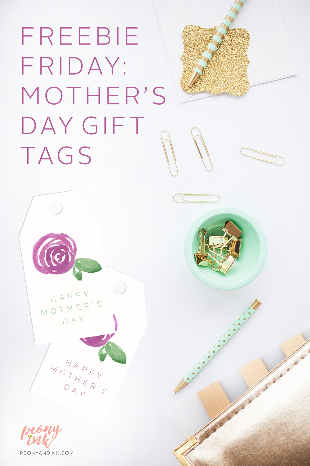 picture about Free Printable Mothers Day Tags named No cost Obtain: Printable Moms Working day Present Tags Peony + Ink